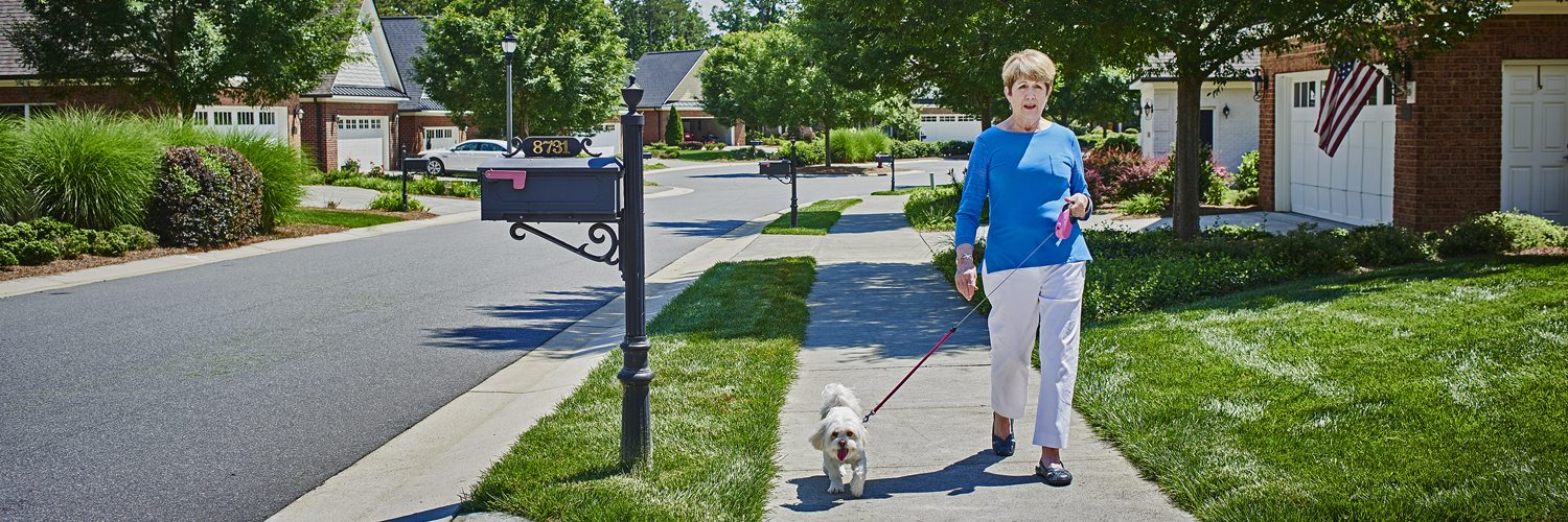 retirement lifestyle walking dog home