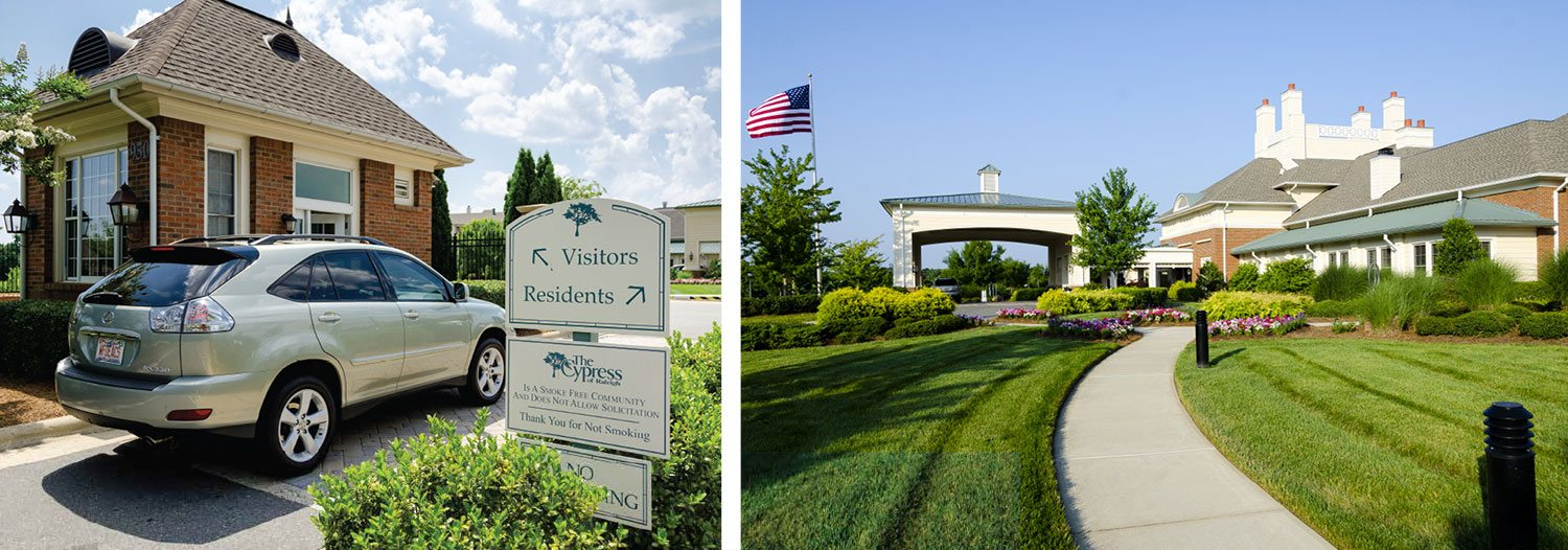 retirement community in raleigh nc welcoming residents and visitors into their gates